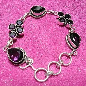 African Amethyst & Sterling Silver Bracelet